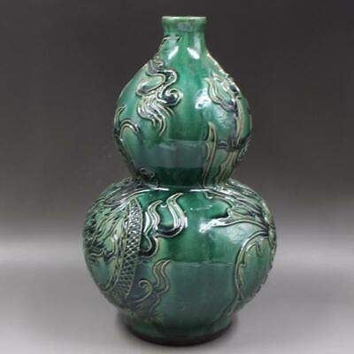 Chinese ancient antique hand make green glaze Dragon-phoenix pattern gourd vase