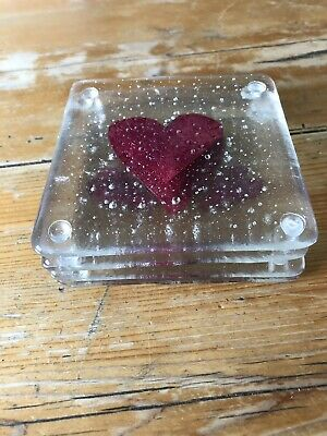 A Set Of Four Handmade Fused Glass And Cooper Hearts Coaster