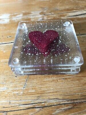A Set Of Six Handmade Fused Glass And Cooper Hearts Coaster