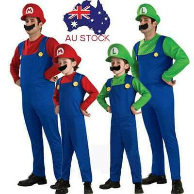New Adult Mens Boys Super Mario and Luigi Bros Fancy Dress Party Costume Plumber