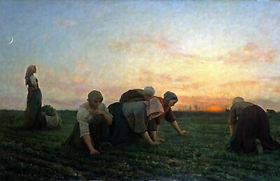 The Weeders by French Jules Breton. Life Art Repro Print Choose Canvas or Paper