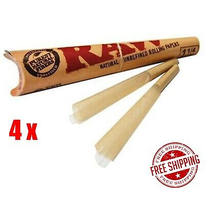 4x RAW Pre-Rolled Classic Cones - Total 24 Cone Papers 1 1/4 Size Joint Blunt