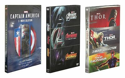 Marvel's The Avengers1-3  -Captain America1-3  & Thor 1-3-BoxSets New! (9Movies)