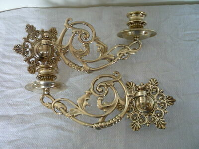 * 2 Vintage Decorative Brass Candlestick Wall Candle Holder Wall Sconce Piano *y