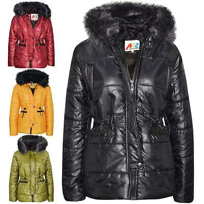 Kids Girls Jackets Puffer Hooded Detachable Faux Fur Wet Look Padded Long Coats