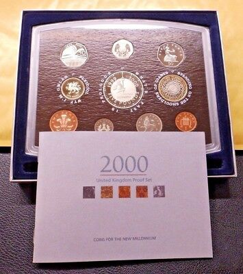 2000 Millennium Royal Mint UK Proof 10 Coin Year Set including £5 coin + COA
