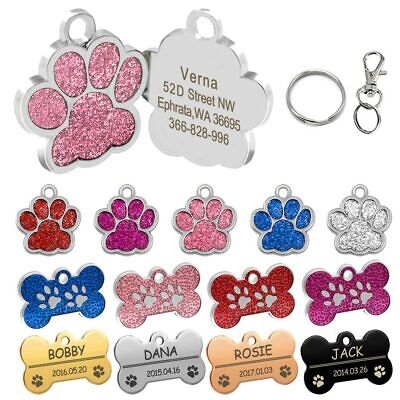 Personalized Dog Tags Engraved Cat Puppy Pet ID Name Collar Tag Bone/Paw Glitter