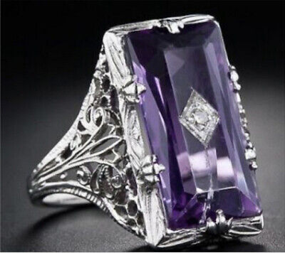 Huge Princess Cut 5.2CT Amethyst Women 925 Silver Plated Ring Jewelry Engagement