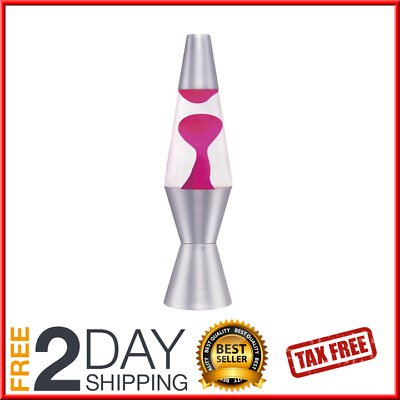 "Lava the Original Motion Liquid Night Light Silver Base Pink Color 11.5"" NEW"