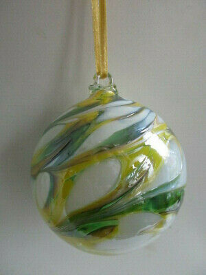 Glass Mouth Blown Spirit of Friendship Ball Lemon/Lime 8cm Boxed Gift Idea