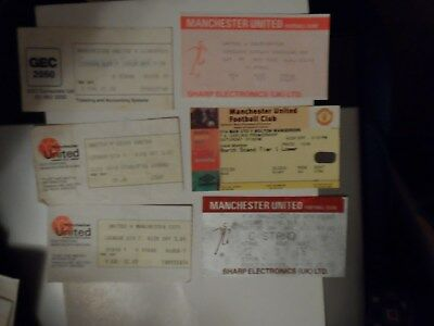 Job Lot Of 11 Manchester United Home & Away Including Europefootball Ticket Stub