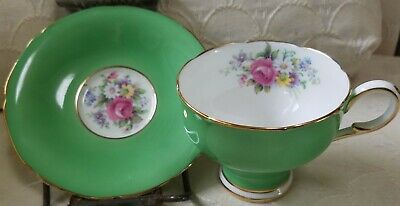 PARAGON Bone China England By Appointment HM Queen Mary CUP SAUCER Green Floral
