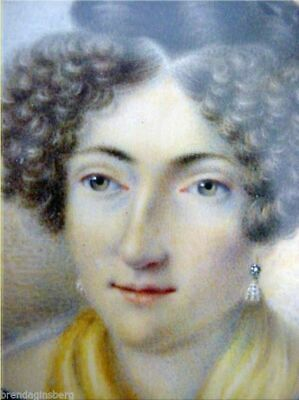 Antique Miniature Portrait Painting Princess Orleans Last King's Sister (3077)