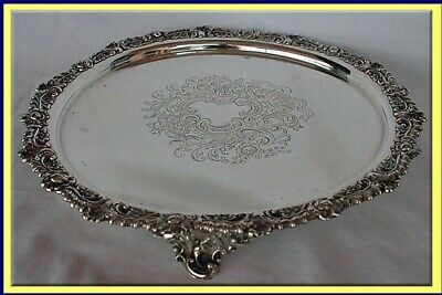 Antique Sterling Silver Tray Salver Chased Engraved Mappin Bros English (3311)