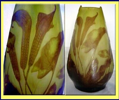Emile Galle Cameo Glass Vase Calla Lily Superb Antique French Art Glass (3294)