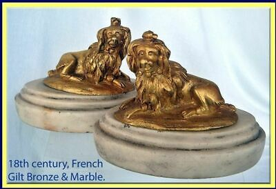 Georgian Paperweight Poodle Dog Sculptures Marble Gilt Bronze 18C French (4361)