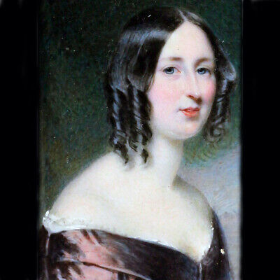 Antique Miniature Portrait Painting by Edward Tayler of Beautiful Woman (6373)