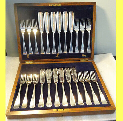 Canteen Fish Set Cutlery Antique Silver Plate Knives Forks f 12 English (5813)