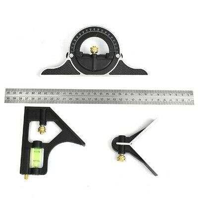 "12"" Combination Protractor Tri- Square Angle Ruler Machinist Measuring Tools BLK"