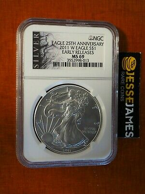 2011 W Burnished Silver Eagle Ngc Ms69 Early Releases Black Label