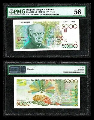 Belgium ND ( 1982 - 92 ) 5000 FRANCS  P145  PMG 58 * King Boudin I *****
