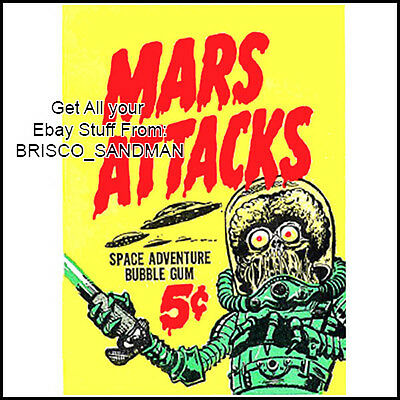Fridge Fun Refrigerator Magnet MARS ATTACKS BubbleGum WrapperTrading Card Magnet