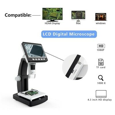 "1000X 2.0MP 4.3"" LCD 1080P Microscope Digital Magnifier Tool USB LED with Holder"