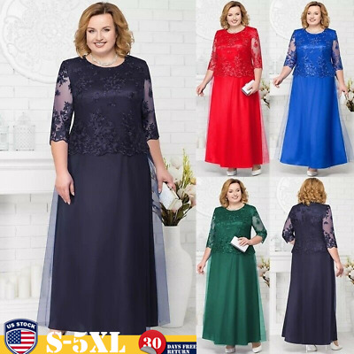 Women S Plus Size Maxi Cocktail Party Wedding Evening Formal Lace