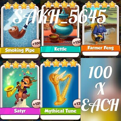 1 x Farmer Feng, 1 x Kettle, 1x Smoking Pipe, 1x Tune & Satyr, Coin Master Cards