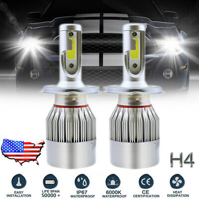 H4 9003 HB2 LED Headlight Bulb Conversion Kit High Low Beam 6000K 1300W 195000LM