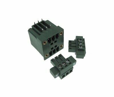 2x3 Pins Dual Rows 3.81mm Screw Terminal Block header & Plug Shrouded Flange RA