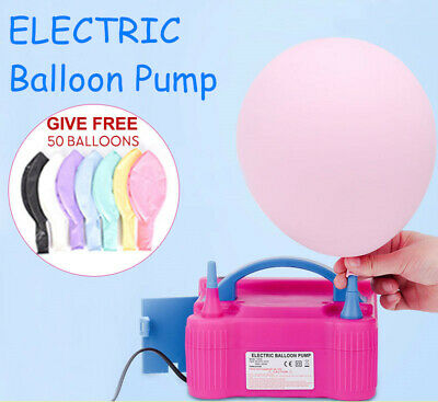 AU 600W Electric Balloon Inflator Pump Two Nozzle High Power Air Blower Portable