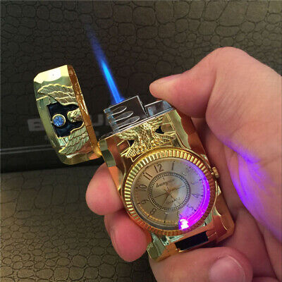 Metal Windproof Jet Torch Gas Butane Cigarette Lighter Bird Quartz Watch Hot