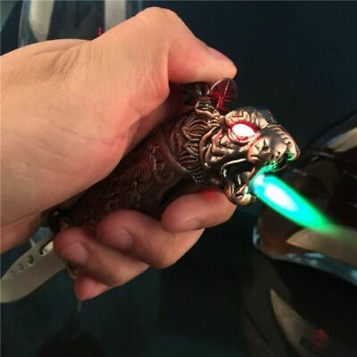 Metal Windproof Jet Flame Lighter Cigarette Torch Lighter Refillable Blade Gift