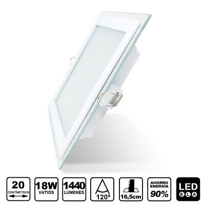 Plafón techo LED DownLight 18W panel empotrar-encastrar cuadrado 20cm cristal
