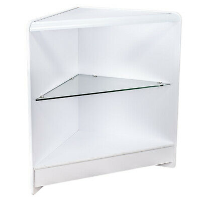 CLEARANCE Triangular Corner Retail Counter Unit in White with 1 Shelf (Q24/CLR)