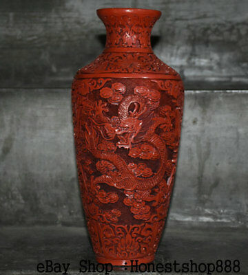 "12"" Marked Old Chinese Red lacquerware Carved Dynasty Palace Dragon Bottle Vase"