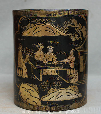 """6 """"Ancient Chinese lacquerware Wood Dynasty Boy Man People Brush Pot Pencil Vase"""