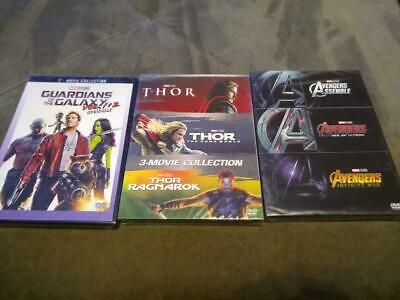 8 Marvel DVD Lot - THOR 3 Movie Collection Avengers 1-3 Trilogy Guardians 1 & 2