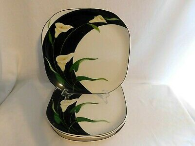 G - Sango Quadrille Black Lilies Dinner Plates  Lot of 5  Oven Safe  1984-94