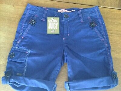 NWT Juicy Couture New & Genuine Blue Cotton Shorts Girls Age 8 With Turn Ups