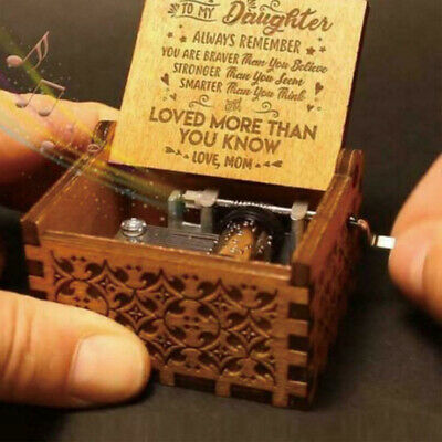 Mom/Dad to Daughter Hand Crank Wooden Engraved Music Box Ornament Kids Toy Gift