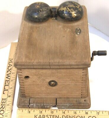 Antique Vintage Western Electric Oak Wooden Telephone Wall Ringer Box W/crank