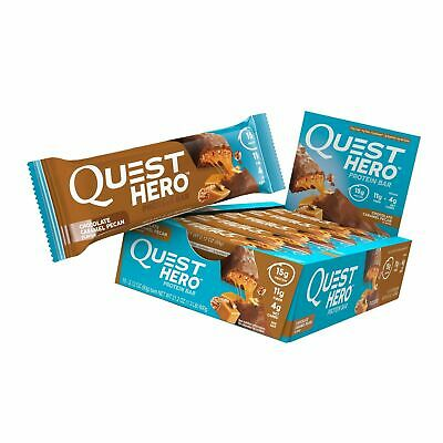 Quest Nutrition (10ct) Chocolate Caramel Pecan Hero Protein Bar Low Carb 01/2020