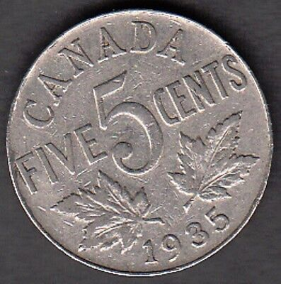 F197 Canada 5 Cents Coins 1935 Fine $10.00