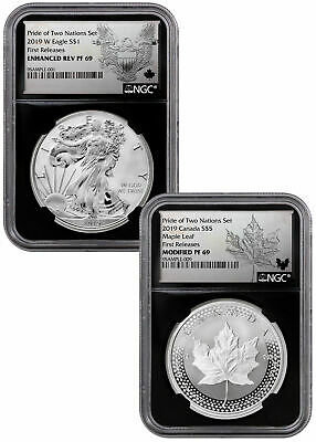 2019 1oz Silver Eagle & Maple Pride Two Nations NGC PF69 FR Blk PRESALE SKU58575