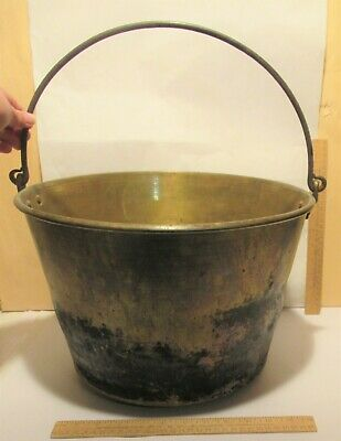 Large BRASS BUCKET / PAIL / PAN - Hinged HANDLE - used / dented / fire charred
