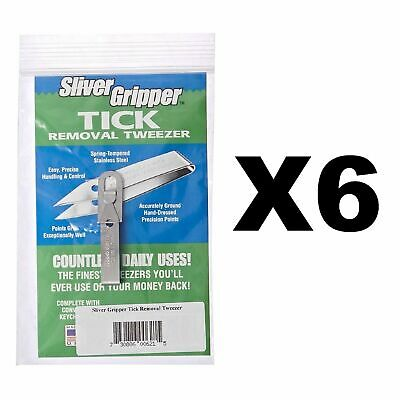 Uncle Bill's Sliver Gripper Tick Remover Removal Removing Tweezers Kit ~ 6 Pack