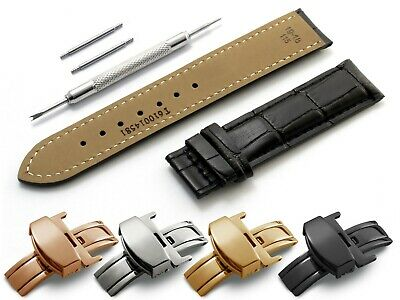 For TISSOT Watch Black Leather Strap Band Deployment Clasp 18 19 20 21 22mm