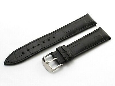 For Emporio Armani AR2432 Black 22mm Genuine Leather Strap Band Watch Buckle Pin